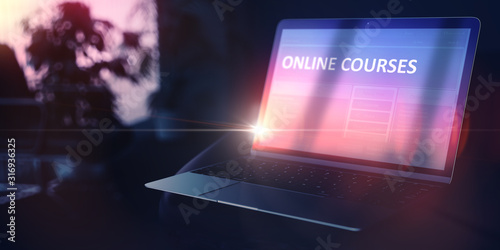 Further Education Concept - Online Courses on Modern Portable Laptop. 3D Render. #316936325