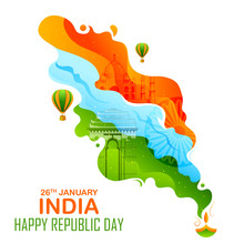 Illustration Of Abstract Tricolor Banner With Indian Flag For 26th January Happy Republic Day Of India