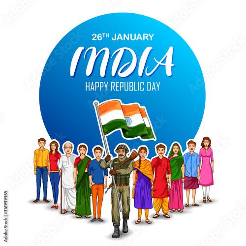 Obraz na płótnie illustration of Indian Army soilder nation hero on Pride background for Happy Re