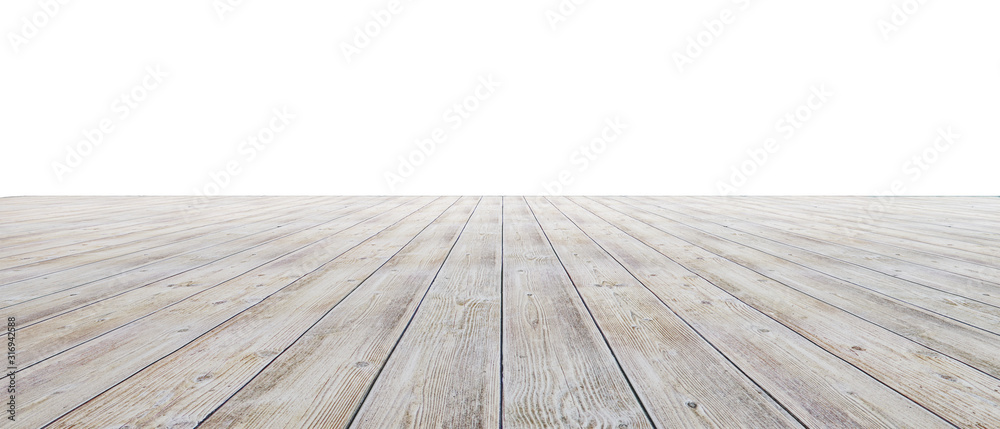 Fototapeta Empty floor with white walls and floor. Empty room studio gradient used for background and display your product. 3d illustration