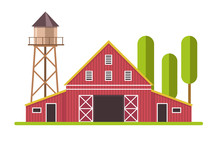 Red And White Barn And Water T...