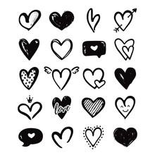 Heart Hand Drawn Shapes Isolat...