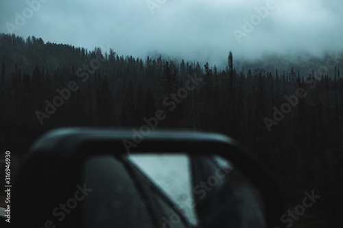 Fototapeta Blurry car mirror in the front of a dark forest full of tall pine trees in the u