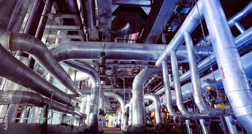 Fotografía Industrial zone, Steel pipelines, valves and pumps