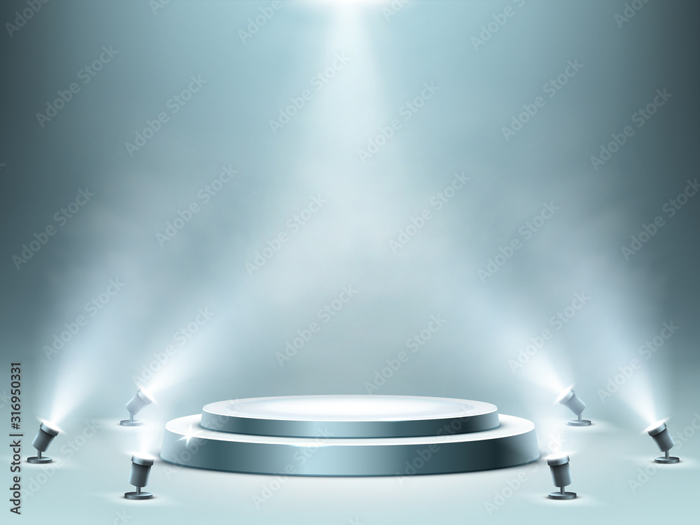 Fototapeta Round podium with smoke effect and spotlight illumination, empty stage for award ceremony, product presentation or fashion show performance, pedestal in nightclub. Realistic 3d vector illustration