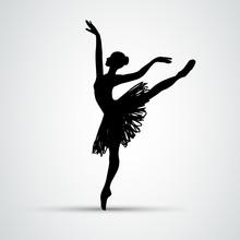 Ballet Girl. Dancing Woman Vec...