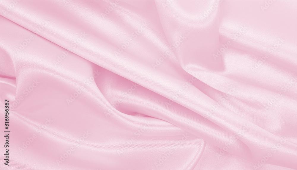 Fototapeta Smooth elegant pink silk or satin texture as wedding background. Luxurious background design