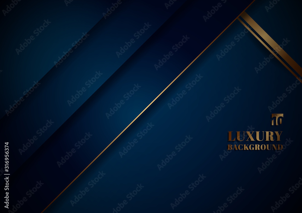 Fototapeta Abstract template blue geometric diagonal with golden border on black background