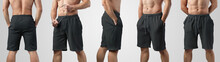 Template Of Blank Black Shorts...