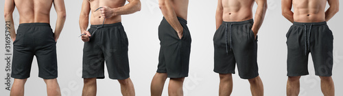 Fotomural Template of blank black shorts on a guy on an isolated background, set with front, side and back views