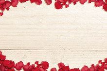 The Frame Of Red Rose Petals W...