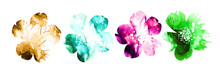 Set Of Multicolored Flower Hea...
