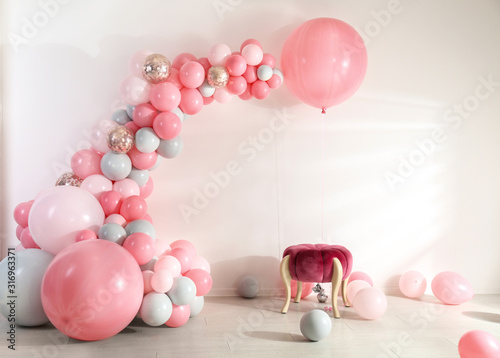Fototapeta Room decorated with colorful balloons for party obraz