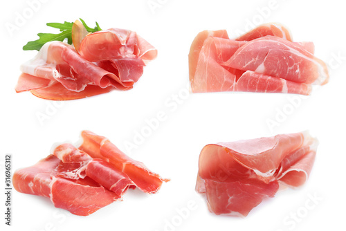 Set of delicious sliced jamon on white background Canvas Print