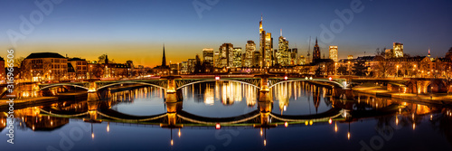 twilight panorama of the frankfurt skyline - 316966506