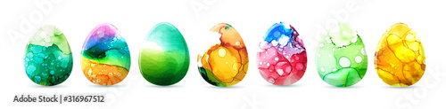 Photo Watercolor egg. Happy Easter. Mixed media. Vector illustration