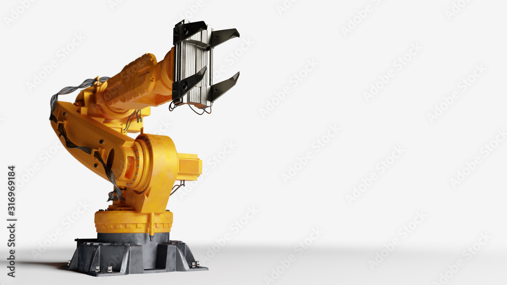 Fototapeta Industrial robotic arm isolated on white. Modern heavy industry,