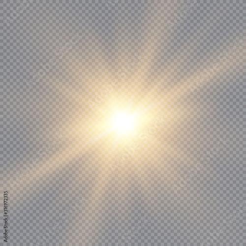 Glow light effect, explosion, glitter, spark, sun flash. Vector illustration. Wall mural