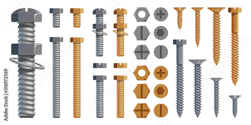 Obraz Vector set of Bolts, Nuts. Metal Screws, steel bolts, nuts, nails and rivets, self-tapping. Construction steel screw and nut, rivet and bolt metal illustration. Washer nut. Steel construction elements - fototapety do salonu