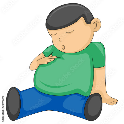 a man is holding his stomach due to satiety cartoon vector Fototapet