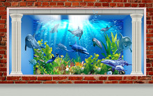 3d Mural Illustration Wallpaper Under Sea Dolphin, Fish, Tortoise, Coral Reef Sand Water With Broken Wall Bricks And Columns Background . For Kids Room And Fish Restaurant .