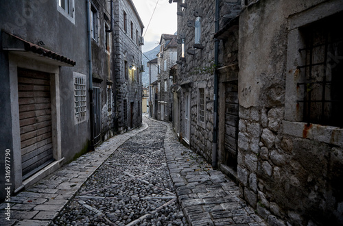 Photo Alleys And Narrow Street Of Old Town Perast, Montenegro.