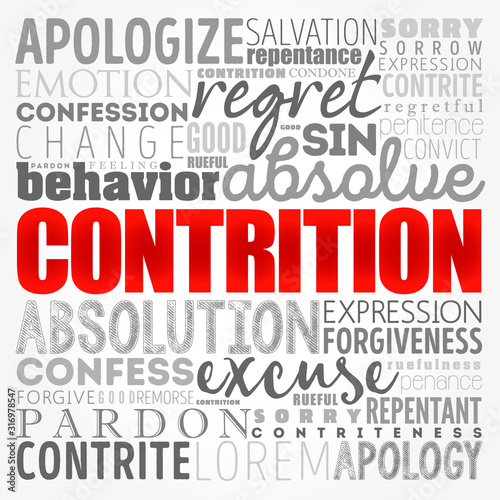 Contrition word cloud collage, concept background Canvas Print