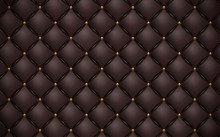 Vector Abstract Upholstery Or Matte Brown Leather Texture Sofa Background And Gold Nails For Antique Furniture Decoration (close Up)