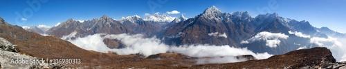 Photo Mount Everest, Lhotse and Ama Dablam from Kongde