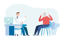 Medicine Concept With Psychiatrist Doctor And Old Patient. Practitioner Doctor And Senior Man Patient In Hospital Medical Office. Consultation And Diagnosis Of Mental Health. Vector Illustration Flat