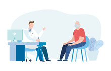 Medicine Concept With A Doctor And Old Patient In Hospital Medical Office. Consultation And Diagnosis. Vector Illustration Flat Style