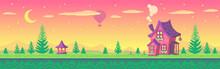 Pixel Art Cute Village At Suns...
