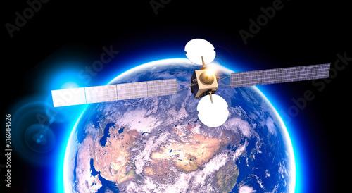 Satellite in orbit, telecommunications, satellite view of the earth Fototapet
