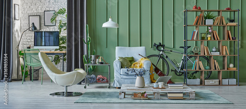 Foto green living room concept, interior style, modern home decoration