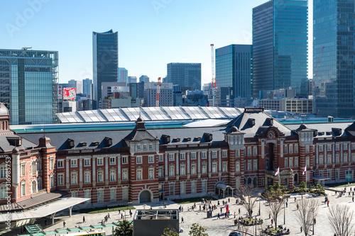 (東京都ー都市風景)東京駅と駅前広場の風景5 Canvas Print