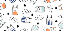 Cats Seamless Vector Pattern W...