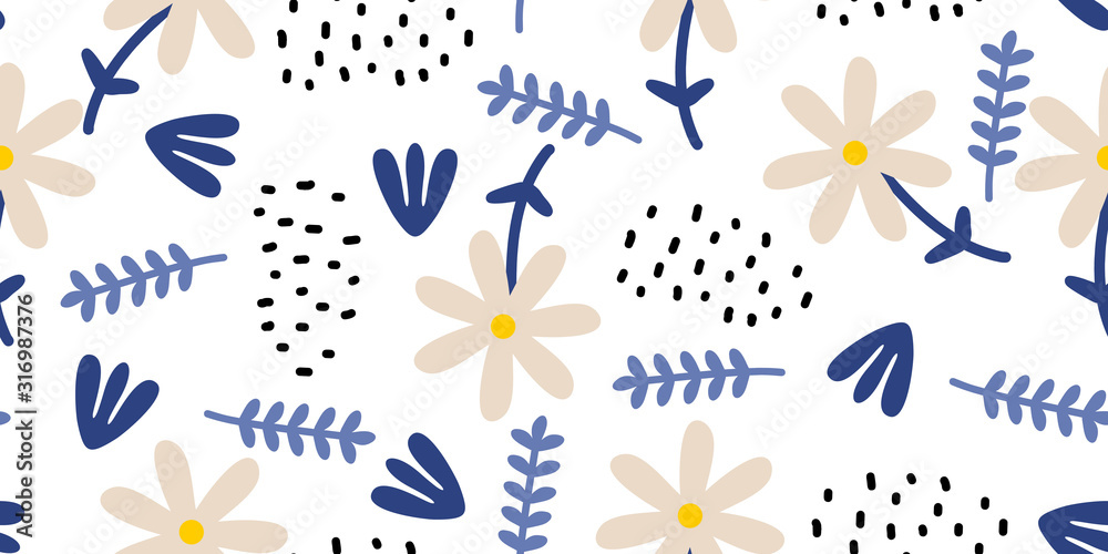 Fototapeta Hand drawn floral seamless pattern. Scandinavian ink doodle on white background. Childish drawing style botanical elements for fashion textile print.