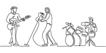 Music Festival Concert One Line Drawing. Continuous Single Hand Drawn Minimalism. Vector Illustration Of People Group Band Including Singer, Guitarist, And Drummer. Simplicity Contour Linear Style.