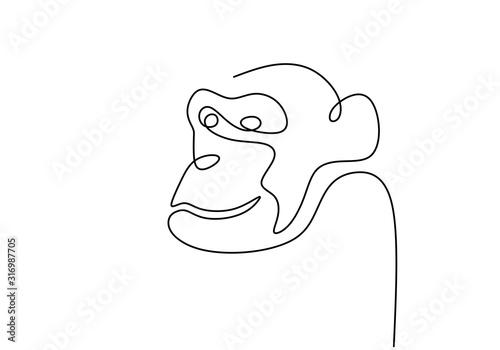Photo One line monkey animal