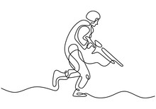 Soldier One Line Drawing. Portrait Of Army Man With Uniform And Rifle Gun. Continuous Single Hand Drawn Military Concept.