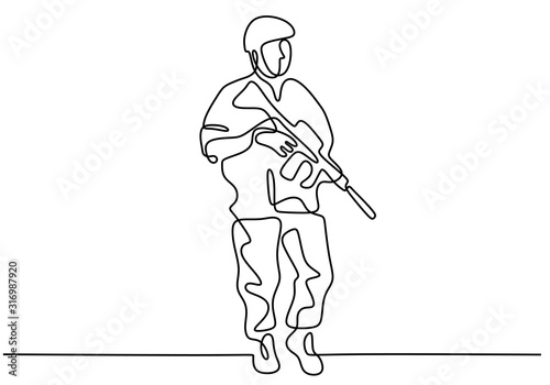 Fototapeta Soldier one line drawing