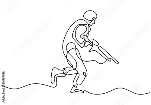 Obraz na plátně Soldier one line drawing