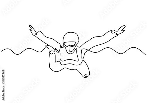 Skydiving one line drawing Wallpaper Mural