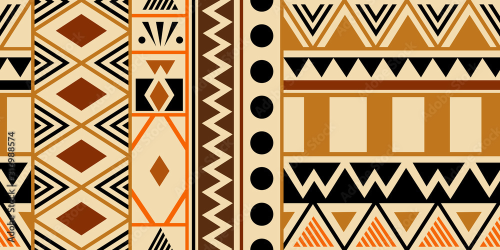 Fototapeta Creative ethnic style vector seamless pattern. Unique geometric vector colorful drawing. Perfect for screen background, site backdrop, wrapping paper, wallpaper, textile and surface design.