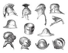 Old Helmets Collection / Vintage Illustration From Brockhaus Konversations-Lexikon 1908
