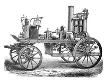 Old Fire Brigade Car - Fire Truck Old Antique Illustration From Brockhaus Konversations-Lexikon 1908