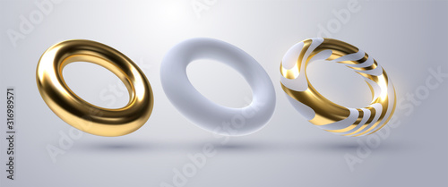 Realistic torus shapes. Vector geometric illustration. 3d golden and white rings collection. Geometric primitives. Decoration elements for minimal cover or poster design