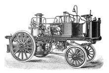 Old Fire Brigade Car - Fire Truck Old Antique Illustration From Brockhaus Konversations-Lexikon 1908
