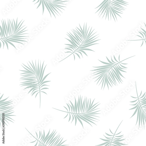 Photo Seamless pattern with Palm Branches of green and aquamarine colors