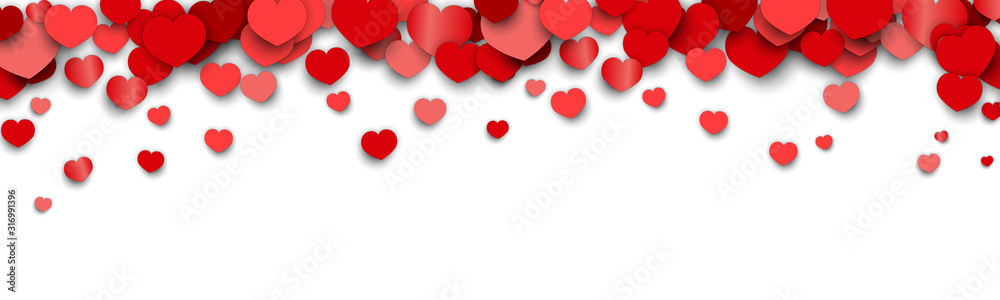 Fototapeta Valentines Day Background Design with Heart Stickers Scattered